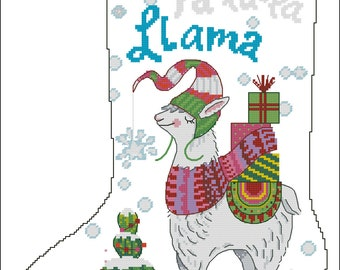 Llama  stocking Cross stitch chart PDF digital pattern