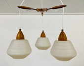 Vintage teak with glass shades pendant, Mid Century chandelier, Opaline glass, 1950s 1960s hanging lamp, Lighting