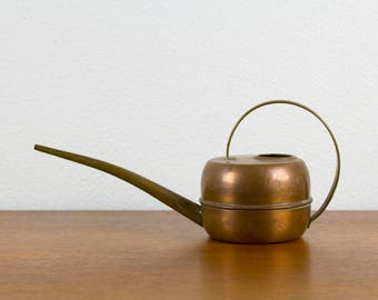 Vintage copper & brass watering can, 50s, Mid century