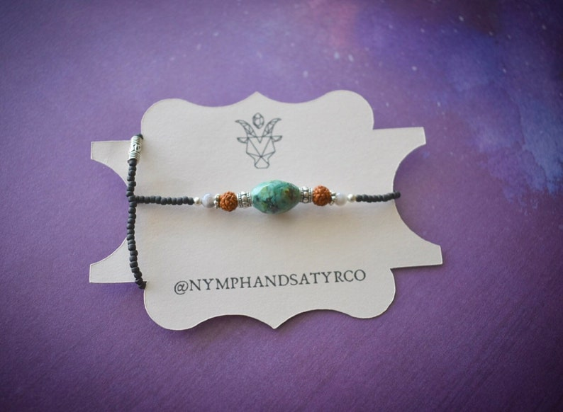 African Turquoise and Rudraksha Anklet