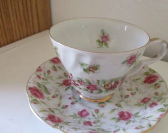Two Vintage Floral Design Japanese Teacups and Saucers