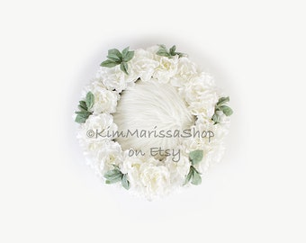 Digital Background, Newborn, Baby, White, Flowers, Wreath, Backdrop for composite