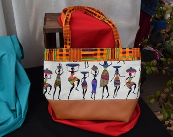 Kente and African Print Tote Bag with Faux Leather Bottom
