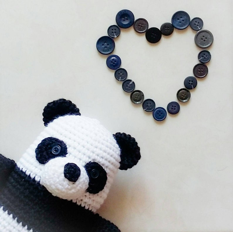 Plush Panda Crochet Animal READY TO SHIP Crochet Panda Bear Amigurumi Panda Stuffed Panda Panda with Backpack Crochet Toy