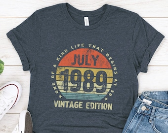30th Birthday Gift For Her Him Men Women Born In July 1989 Shirt