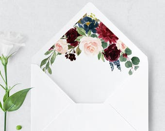 Envelope Liner A7 Greenery Watercolor Liner Template Etsy