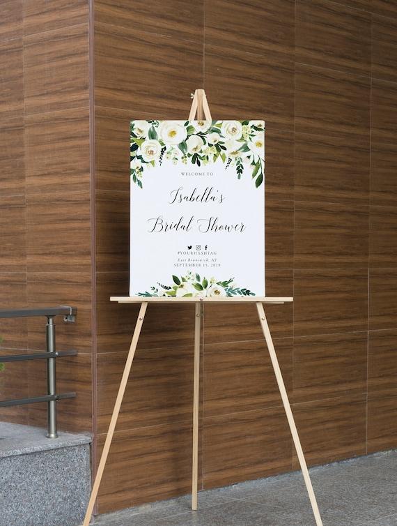 4cf7c687533e White Floral Bridal Shower Sign Printable Bridal Shower
