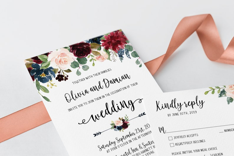 Floral Wedding Set Printable Wedding invites Marsala florals Burgundy and Navy wedding invitations Wedding Invitation Cards Template