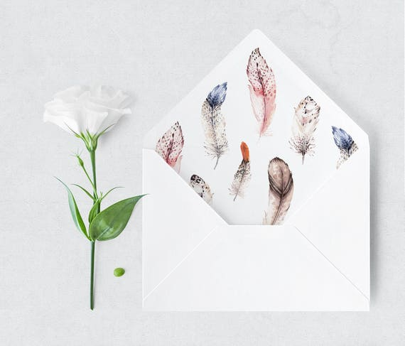 Watercolor Feather Envelope Liner A6 A7