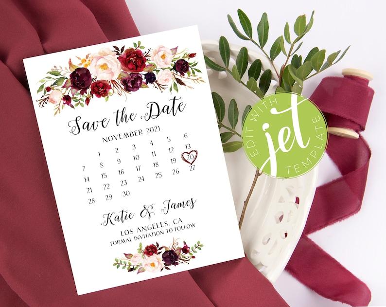 Burgundy Save the Date Card  Boho Floral Printable Template  image 0
