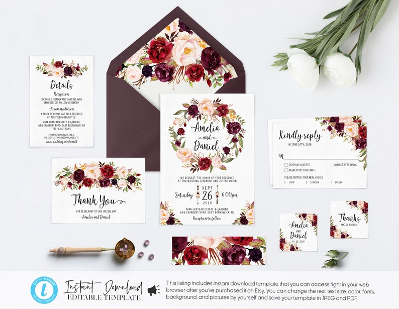 graphic about Etsy Wedding Invitations Printable referred to as Burgundy Wedding ceremony invites Printable Marsala Wedding ceremony invitations Rustic Wedding day Invitation Playing cards Template Templett invites - ESR01