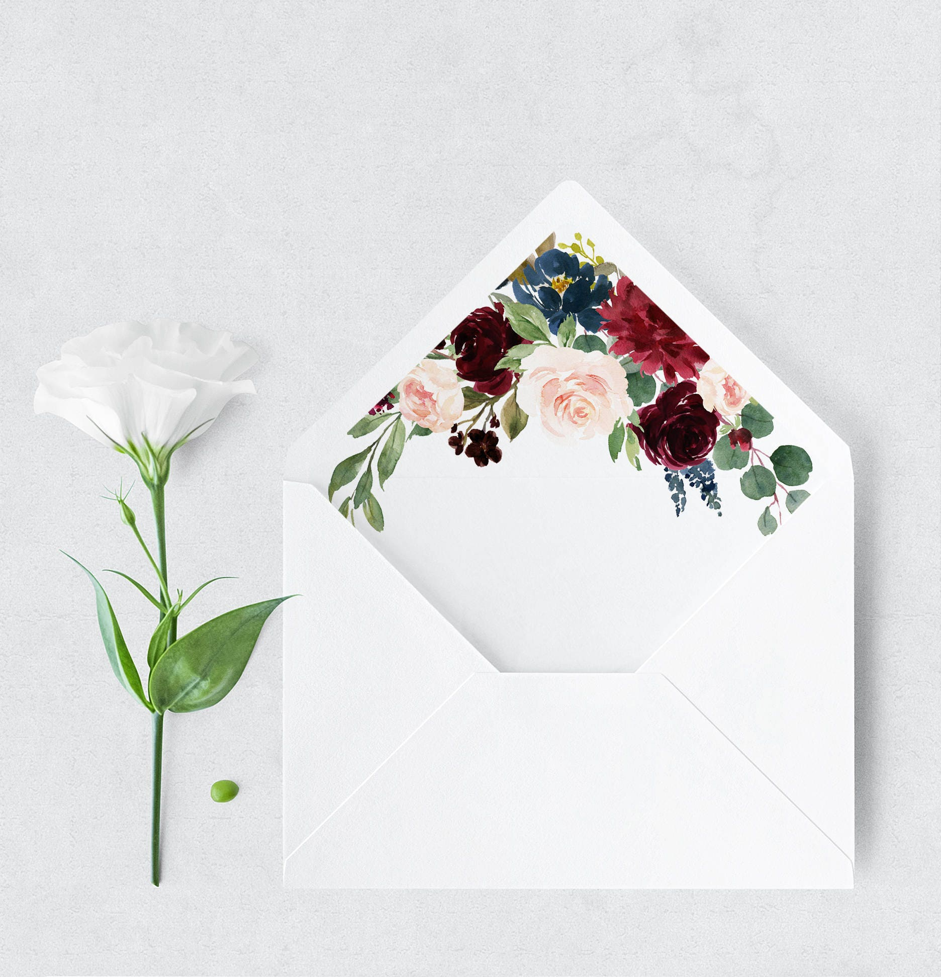 Burgundy And Navy Envelope Liners A7 And A2 Floral Envelope Etsy