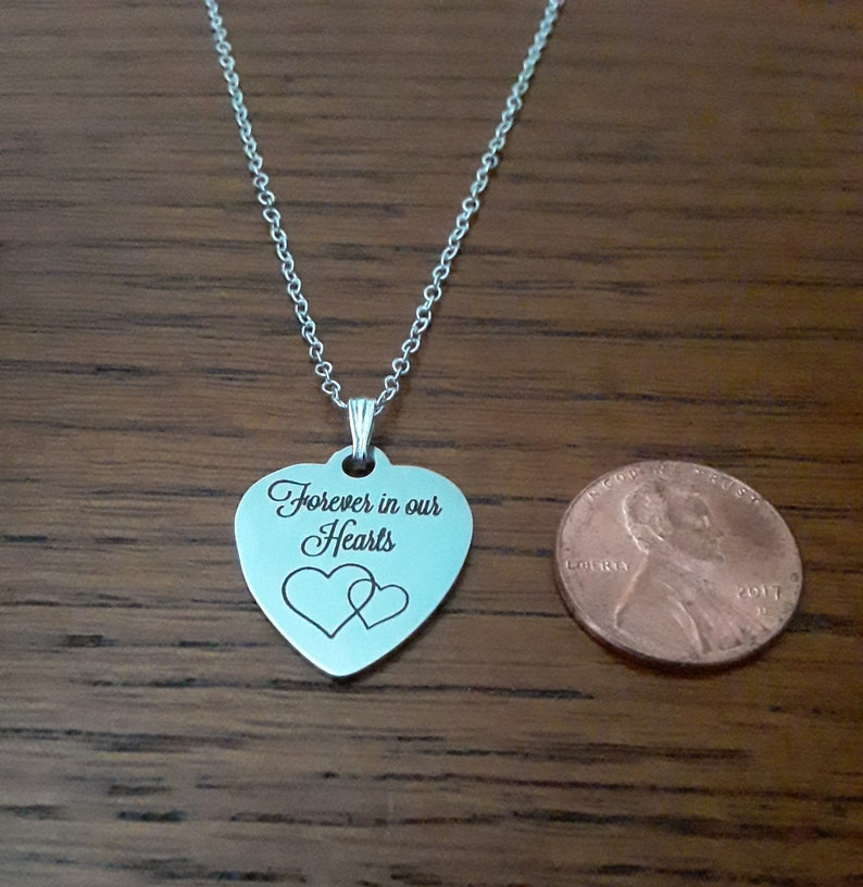 Forever In Our Hearts Memorial Necklace Sympathy Bereavement NC01 Memorial Gift Loss Memorial Jewelry Grief Remembrance Condolence
