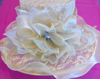 Large Lace Organza W/Stone Hat