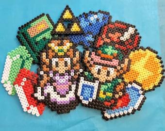 Zelda Characters & Items from Iron beads, Link, Nintendo, SNES, Refrigerator Magnets, Perler, Pixel, TLoZ
