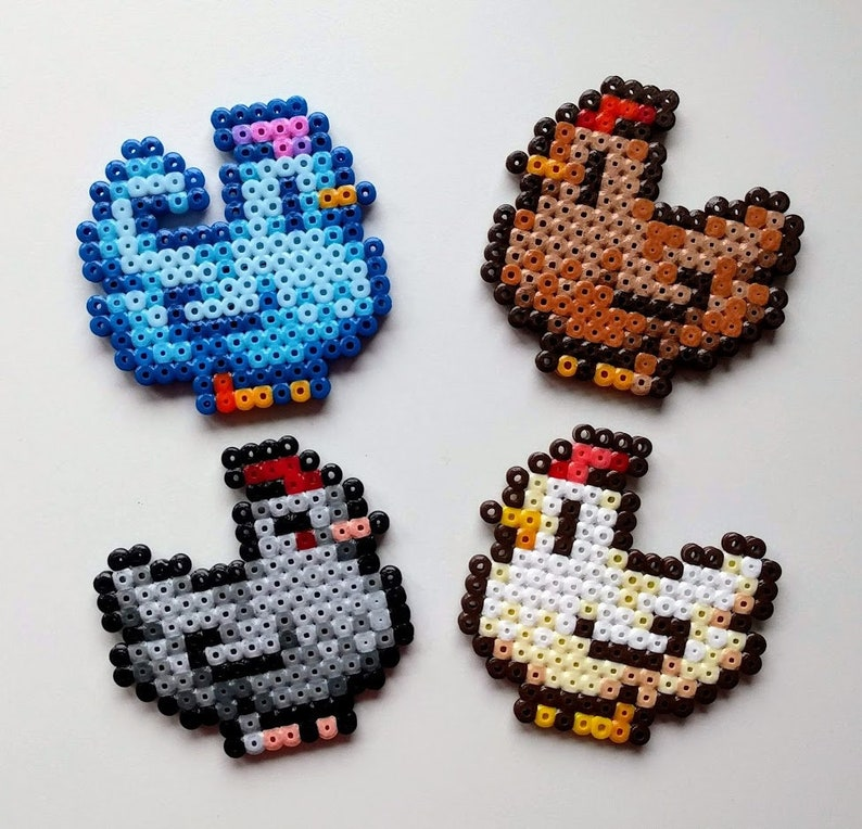 Chickens Stardew Valley made of iron beads animals image 0