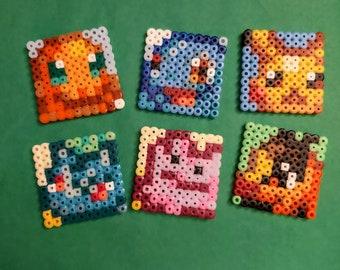 Pokémon from Ironing Beads, Magnets, Nintendo, Game Boy, Perler, Beads, Keychain, Keychain, Pikachu, Bulbasaur, Charmander, Pokemon