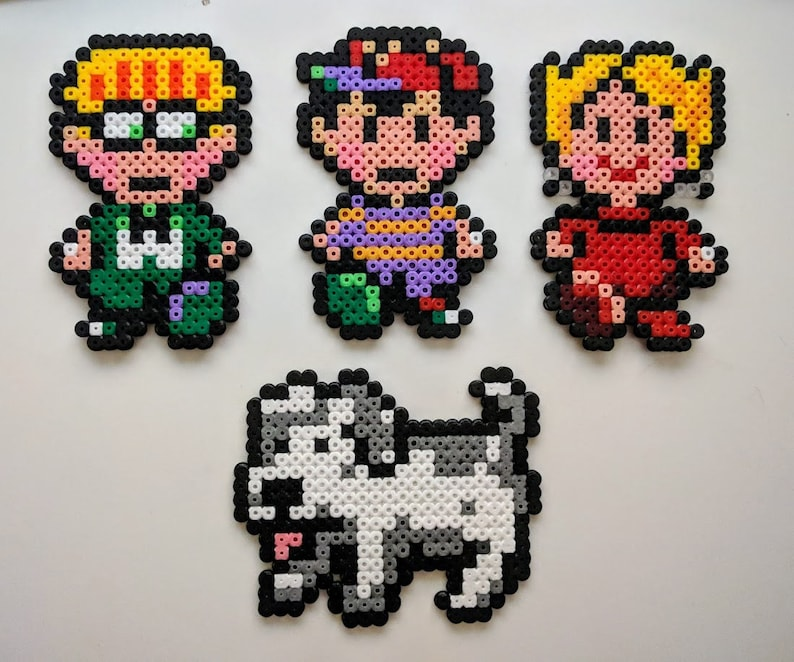 Earthbound/mother characters from Temple beads, Ness, Paula, Jeff, King,  Nintendo, SNES, Retro, with magnets, with stand, stand