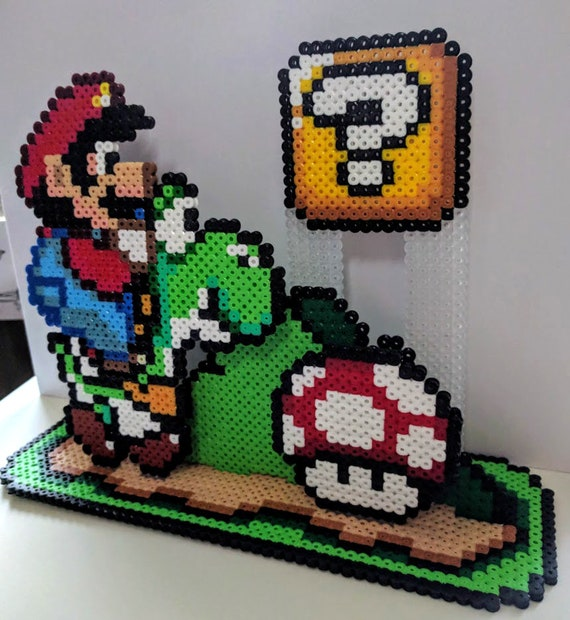 Super Mario World Diorama Made Of Iron Beads Pearl Mushroom Etsy