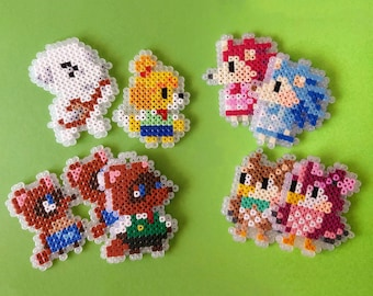 Animal Crossing Characters from Ironing Beads, Tom Nook, Isabelle, K.K. Slider, Keychain, Magnets, Nintendo, Perler