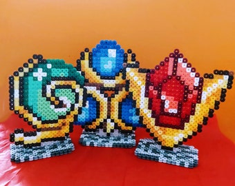 Spiritual Stones (Zelda - Ocarina of Time) made of ironing beads, beads, perler, Nintendo, magnets, magnets, stand-up, stand, stones, N64 OoT
