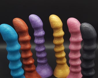 The Elégant Boutons 8 inch Platinum Silicone Dildo and Anal Sex Toy  (mature)