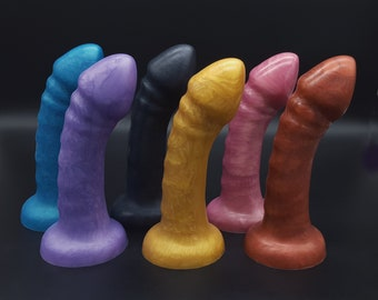 The Vivo in Handmade Platinum Silicone 7 inch Dildo in Semi Metallic Colors