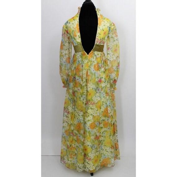 Vintage Floral Print Maxi Dress Yellow Green 3D T… - image 6