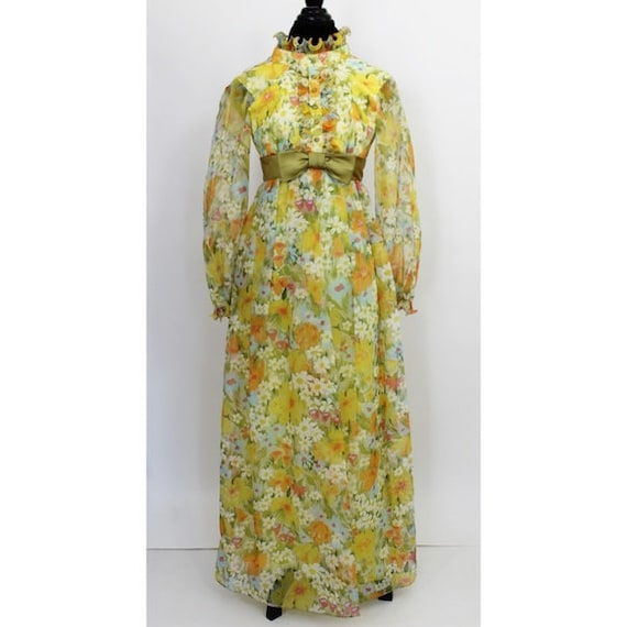 Vintage Floral Print Maxi Dress Yellow Green 3D Tu