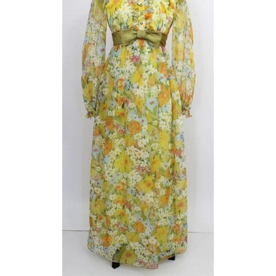 Vintage Floral Print Maxi Dress Yellow Green 3D T… - image 4