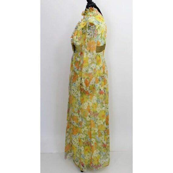 Vintage Floral Print Maxi Dress Yellow Green 3D T… - image 5