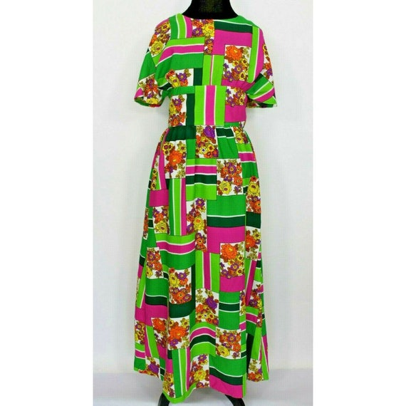 Vintage 60s 70s Womens Dress Mod Floral Print Long
