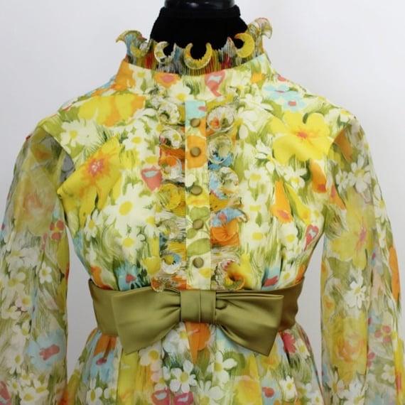 Vintage Floral Print Maxi Dress Yellow Green 3D T… - image 2