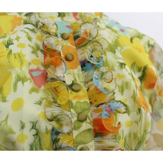 Vintage Floral Print Maxi Dress Yellow Green 3D T… - image 3