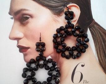 Lightweight Statement Earrings Wood Dangle Earrings Black Stone Earrings