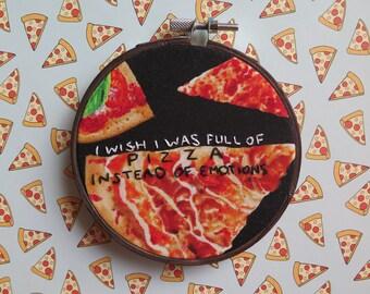 Pizza Hoop --Embroidery Hoop Art-Handmade-Needlework-Fiber Art