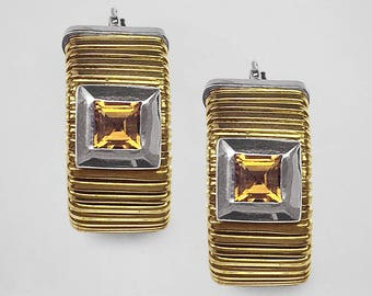 14K Yellow Gold gooseneck Hoop Earrings with White Gold trim and square bezels each set with princess cut Golden Citrine (topaz) circa 1980