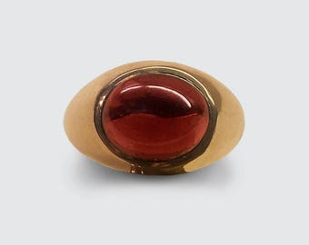 Handsome horizontally set large fine Cabochon Garnet in 14K Rose Gold is the essence of understated elegance and good taste