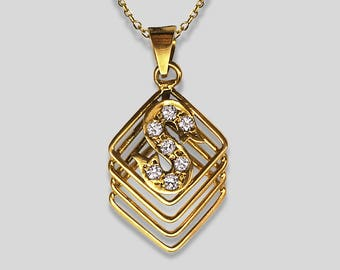 "14K Yellow Gold Pendant/Charm in geometric motif overlaid with the initial ""S"" which is pavé set with 7 round White Sapphires"