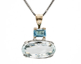 Unique Handmade one-of-a-kind Pendant set with Genuine Aquamarine & Blue Topaz in two-tone 14K Gold. Wear it w/ a yellow or white gold chain