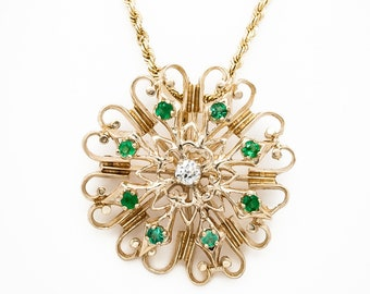 Vintage 14K Yellow Gold Pin / Pendant: Edwardian style Elegance prong set with 8 gem quality Emeralds and 1 Old European Cut Diamond
