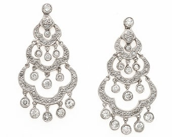 Spectacular Diamond Chandelier Earrings. 14K White Gold with 100 scintillating Brilliant Diamonds totaling over 2 carats. Circa 1980s