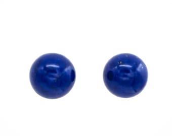Natural deep blue Lapis Lazuli spherical stud earrings. 8mm and 10mm variations.