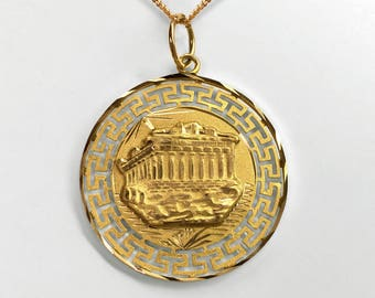 14K Yellow Gold Greek Medallion depicting the Parthenon reversing to show the Gods Mercury, Apollo and Greek sailing vessel on opposite side