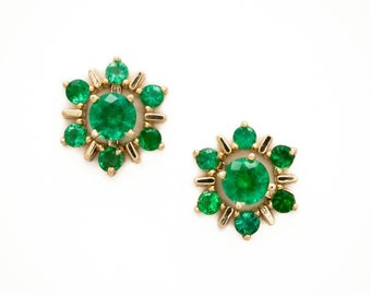 Fine Natural Emeralds at their best. Beautiful 14K Yellow Gold earring jacket accepts any interchangeable stud.