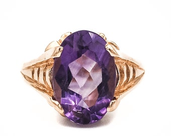 Deco Inspired 14K Yellow Gold Ring prong set with a fine Oval Faceted Natural Amethyst handmade in our own workrooms
