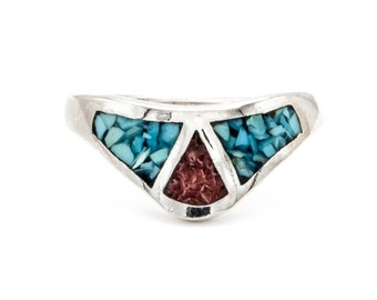 Vintage triangular red Coral and Turquoise inlaid Sterling Silver Ring. Substantial and heavy.