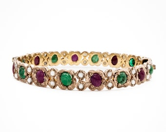 19th century low karat solid Gold handmade Antique bangle bracelet with Cabochon Rubies, Emerald, and Pearls