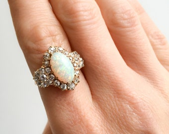 Victorian antique 14K Yellow Gold Ring; exceptionally fine Australian Fire Opal (3.5 carats) and 28 Old European cut Diamonds (1.53 carats)