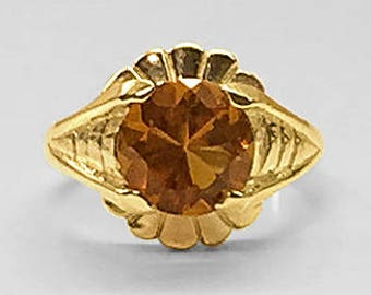 14K Yellow Gold heavy deco-like Ring prong set with a fine 8.4 millimeter Round faceted Madeira Citrine (topaz) handmade in our own workroom